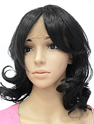 Lace Front Synthetic Hair Black Long Wavy Hair Wig