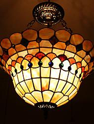 40w classique tiffany lumière pendante avec du matériel de coquille de nature ombre intégré (chaîne réglable)