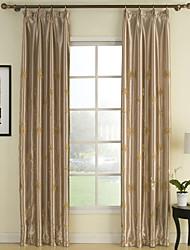 (Dos paneles) bordado sala de poliéster cortina de oscurecimiento térmica