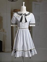 Corto manga corta del patrón del cheque vestido lolita dulce azul y blanco