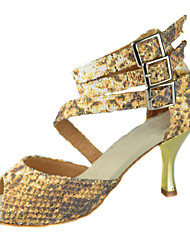Customizable Women's Dance Shoes Latin/Ballroom Fabric Customized Heel Gold