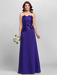 Floor-length Strapless Spaghetti Straps Bridesmaid Dress - Floral Sleeveless Satin