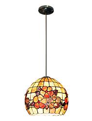 80W artistique Tiffany lumière pendante avec Colorful Nature Matériel de Shell Shade intégré Bas