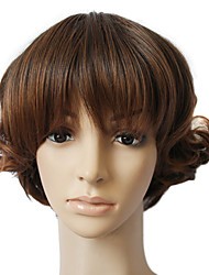 Capless Synthetic Hair Brown Curly Hair Wig