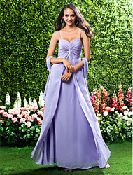 Militär Ball/Formeller Abend/Hochzeitsparty Kleid - Lavendel Chiffon - Etui-Linie - bodenlang - Herz-Ausschnitt/Spaghettiträger