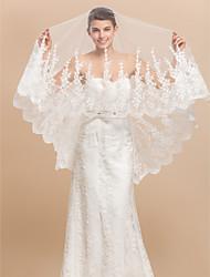 Elegant1 capa vals velo de novia de la boda con el cordón Applique Edge
