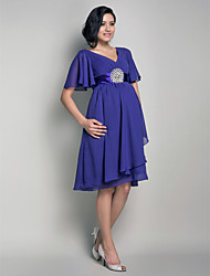 Bridesmaid Dress Knee Length Chiffon A Line V Neck Maternity Dress