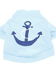 Cães Camiseta Azul Roupas para Cães Verão Primavera/Outono Marinheiro Da Moda Férias