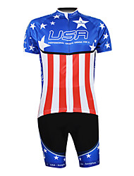 Kooplus 2013 USA Pattern 100% Polyester Short Sleeve Quick Dry Mens Cycling Suits