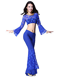 Dancewear Crystal Cotton and Lace Belly Dance Outfit For Ladies More Colors