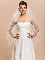 Two-tier Tulle Fingertip Wedding Length Veil With Beaded / Scalloped Edge
