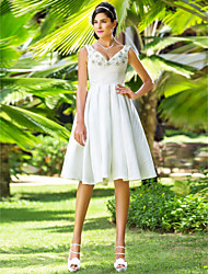 Lanting A-line / Princess Petite / Plus Sizes Wedding Dress - Ivory Knee-length V-neck Taffeta