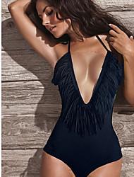 preto sexy de uma peça swimwear das mulheres