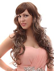 Capless Mixed Hair Mixed Color Long Wavy Hair Wigs