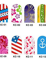 12PCS 3D полным покрытием ногтей Наклейки внезапный порошок Цветок серии (№ 1, разных цветов)