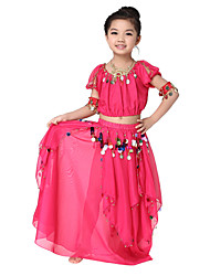 Performance Dancewear High Quality Chiffon with Coins Belly Dance Outfit Top and Skirt For Children More Colors