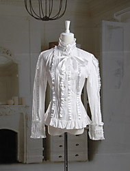 Long Sleeve White Cotton Classic Lolita Blouse