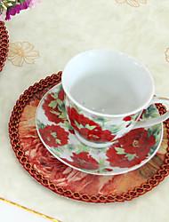 Набор из 6 Европейский стиль цветочным узором Дизайн Поли / хлопок Подставки