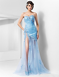 Formal Evening/Military Ball Dress - Sky Blue Plus Sizes Sheath/Column Sweetheart/Spaghetti Straps Sweep/Brush Train Tulle