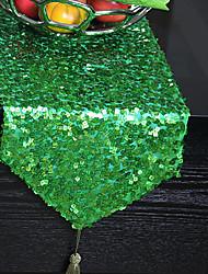 Modern Green Sequins Table Runner
