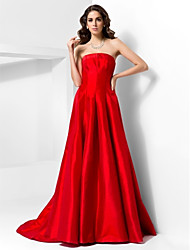 A-Line Princess Strapless Court Train Taffeta Formal Evening Dress with Draping by TS Couture®