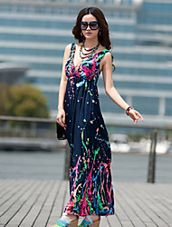 Beach wings V Neck Abstract Painting Pattern High Waist Elasticity Royal Blue Dress(chest circumference:72cm-100cm)