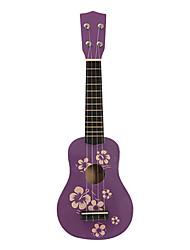 Цветочные Детский Pattern Фанера сопрано укулеле (фиолетовый)