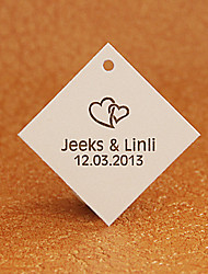 Personalized Rhombus Favor Tag - Hearts (Set of 30)