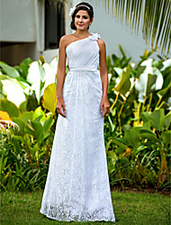 Lanting Sheath/Column Plus Sizes Wedding Dress - White Floor-length One Shoulder Lace