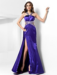 TS Couture Formal Evening Military Ball Dress - Sexy Sheath / Column V-neck Straps Sweep / Brush Train Satin with Beading Split Front