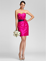 Lanting Bride® Short / Mini Taffeta Bridesmaid Dress - Sheath / Column Strapless / Sweetheart Plus Size / Petite withFlower(s) / Sash /