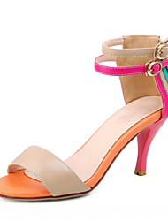 Leder Stiletto Sandalen Multi-Color mit Ankle-Strap Party / Abendschuhe
