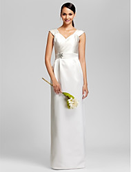 LAN TING BRIDE Floor-length Satin Bridesmaid Dress - Sheath / Column V-neck Plus Size / Petite with Beading / Sash / Ribbon