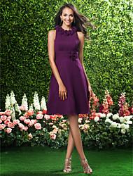 Lanting Knee-length Chiffon Bridesmaid Dress - Grape Plus Sizes / Petite A-line / Princess Jewel