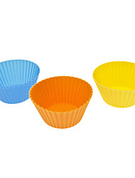 Rounded Colorful Silicone Cup Cake Mould (3pcs, Random Color)