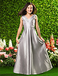 Floor-length Taffeta Junior Bridesmaid Dress A-line / Princess V-neck Empire with Draping / Criss Cross