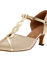 Customizable Women's Dance Shoes Modern Sparkling Glitter Customized Heel Silver/Gold