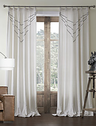 Two Panels Curtain Neoclassical , Curve Bedroom Poly / Cotton Blend Material Curtains Drapes Home Decoration For Window
