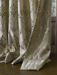 (Two Panels) Floral Rococo Jacquard Energy Saving Curtain