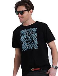 Herren Rundhals Geometric Print T-Shirt