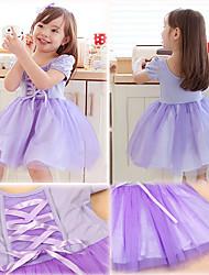Lolita robe de conte de fées genou longueur manches courtes Light Purple tergal Kid (Longueur: 56cm, coffre: 58cm)