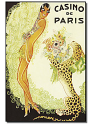 Printed Canvas Art Vintage Casino de Paris, Leopard by Vintage Apple Collection with Stretched Frame