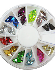 24PCS 12-Color Nail Art Acrylic Rhinestone(Assorted Shapes)