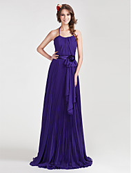 Floor-length Halter Spaghetti Straps Bridesmaid Dress - Floral Sleeveless Chiffon