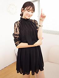 oka cor sólida vestido de renda moda