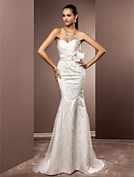 Mermaid / Trumpet Sweetheart Sweep / Brush Train Satin Tulle Wedding Dress with Beading Criss-Cross Flower by LAN TING BRIDE®