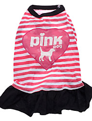 Dog Dress Pink Dog Clothes Spring/Fall Letter & Number / Hearts