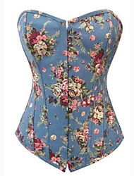 Blue Floral Canvas Country Lolita Corset