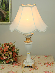 Rustic Table Light with Elegant Fabric Shade Resin Body Painting Finished 220-240V