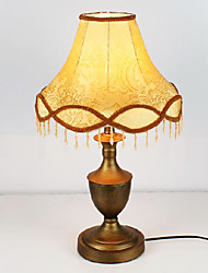 Classic Retro Table Light with Elegant Fabric Shade Painting Finished Metal Body 220-240V